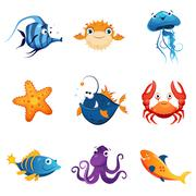 Colorful Marine Animals Set - stock illustration