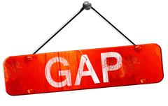 Gap, 3D rendering, a red hanging sign Stock Illustration