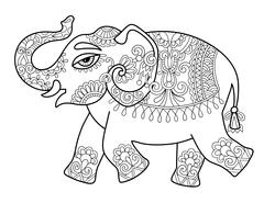 ethnic indian elephant line original drawing, adults coloring bo - stock illustration