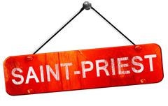 saint-priest, 3D rendering, a red hanging sign - stock illustration