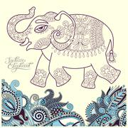original stylized ethnic indian elephant pattern drawing and han - stock illustration