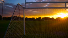 Soccer Goal At Sunset - stock footage