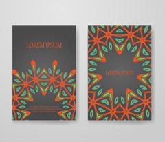 Colorful ornamental ethnic booklet set Stock Illustration