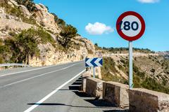80 km/h speed limit sign on a mountain highway. Spain - stock photo