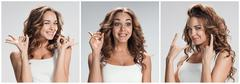 Set of young woman's portraits with different happy emotions - stock photo