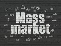 Advertising concept: Mass Market on wall background - stock illustration