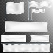 Set of 8 White textile banner and flags. EPS 10 - stock illustration