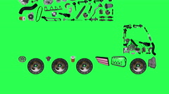 Images truck assembled from new spare parts Stock Footage