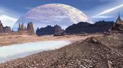 Fantasy alien planet. Rocks and lake. 3D illustration. 4K - stock footage