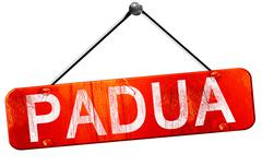 Padua, 3D rendering, a red hanging sign Stock Illustration