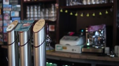 Beer Taps In The Bar Stock Footage