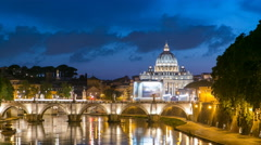 Rome, Italy: St. Peter's Basilica, Saint Angelo Bridge and Tiber River after the - stock footage