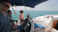 Friends sailing in the sea on the yacht Stock Footage