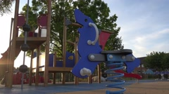 Bright colorful children play ground Stock Footage