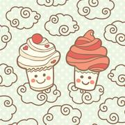Two cute smiling cupcakes on clouds - stock illustration