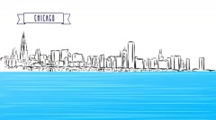 Chicago Panorama Outline Sketch Animation Stock Footage