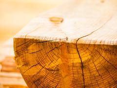 Piece of processed wood detail Stock Photos