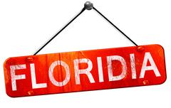 Florida, 3D rendering, a red hanging sign Stock Illustration