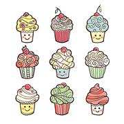 Set of colorful sweet cupcakes isolated on white background - stock illustration