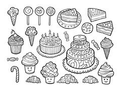 Set of cute monochrome sweets - stock illustration
