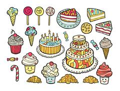 Set of cute colorful sweets - stock illustration