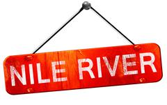 Nile river, 3D rendering, a red hanging sign Stock Illustration