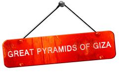 great pyramids of giza, 3D rendering, a red hanging sign - stock illustration