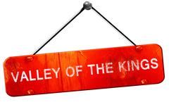 valley of the kings, 3D rendering, a red hanging sign - stock illustration