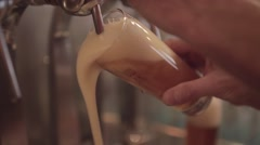 Pouring Draft Beer In The Bar Stock Footage