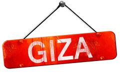giza, 3D rendering, a red hanging sign - stock illustration