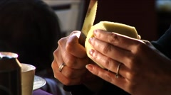 Woman's Hands Cutting an Apple Stock Footage