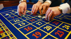 Casino, roulette, bet, hands, chips - stock footage