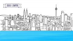 Kuala Lumpur Panorama, animated Shot - stock footage