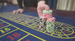 Casino, close-up, the dealer makes the payment of winnings at roulette, S-Log - stock footage