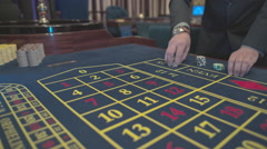 Casino, close-up, the dealer takes bets on roulette, S-Log Stock Footage