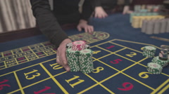 Casino, close-up, the dealer is lucky win on the roulette, S-Log - stock footage