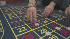 Casino, a man's hand bet roulette, S-Log Stock Footage