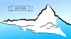 Matterhorn Hand drawn Outline Animation Stock Footage