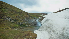 Mountain waterfall in spring with snow melting Stock Footage