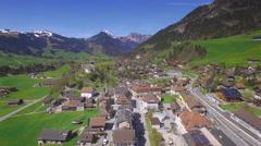 4K Gruyere Château-d'Oex aerial shot Stock Footage