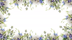 Bouquet of blue irises, white flowers and butterfly. Footage with alpha chann Stock Footage
