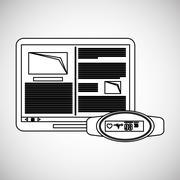Wearable technology design. wireless icon. Flat illustration  , vector - stock illustration