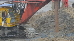 Construction Crane drilling hole in muddy ground,Bangkok,Thailand Stock Footage