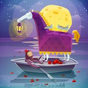 Horse With Lantern Surreal Dream Poster - stock illustration