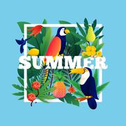 Summer Tropical Frame - stock illustration