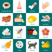 Allergy Icons Set Stock Illustration