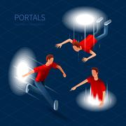 Way Out Portals Set - stock illustration
