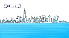NYC Animated Panorama Sketch Stock Footage