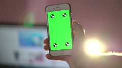Close Up Man Holding Smartphone Touch Screen With Green Screen Chroma Key - stock footage