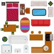 Top View Of Home Furniture - stock illustration